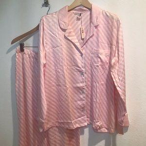 Victoria's Secret pants silky pijamas set Sz L NEW